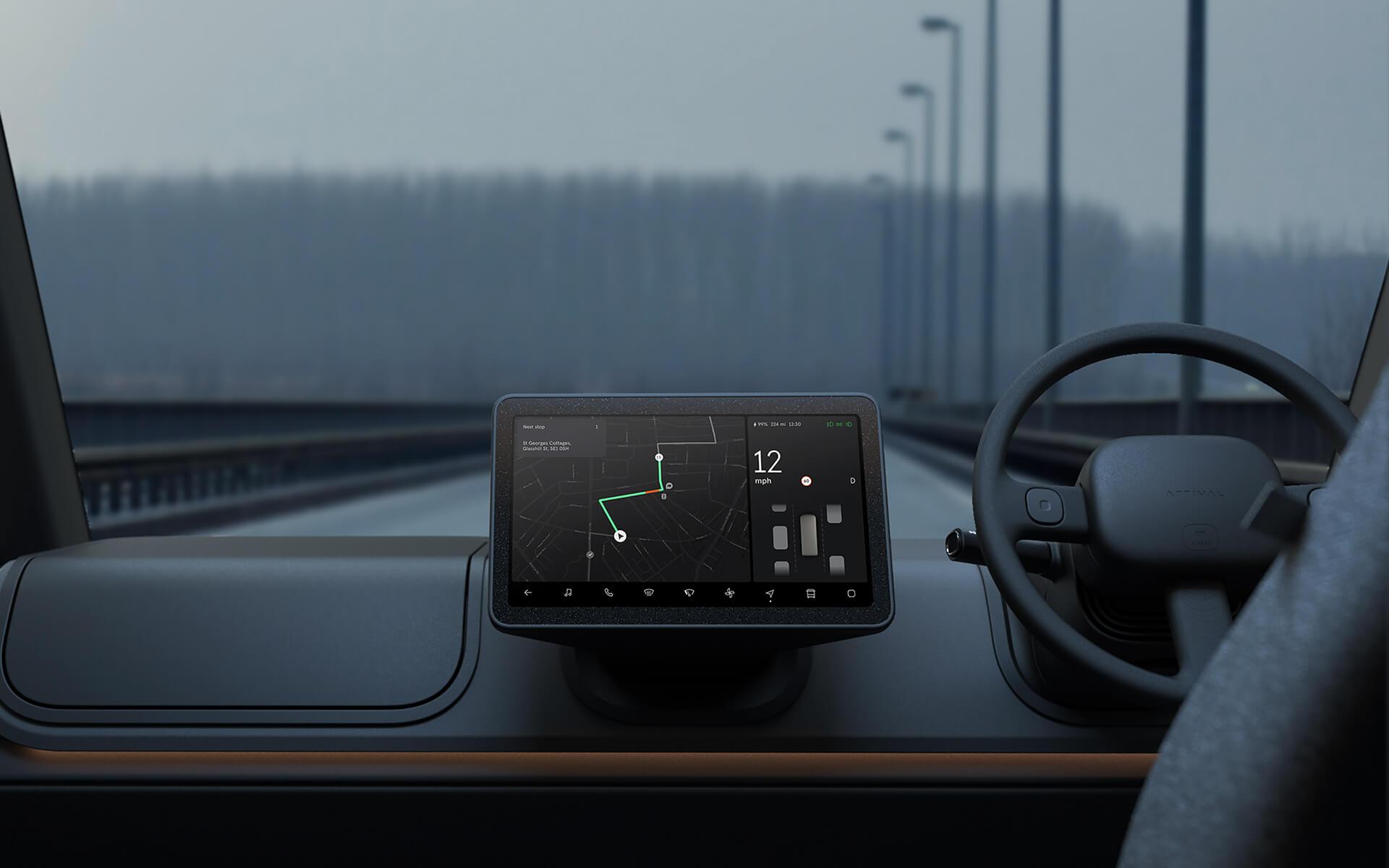 HMI Touchscreen Next to Driver Controls in Van Cabin
