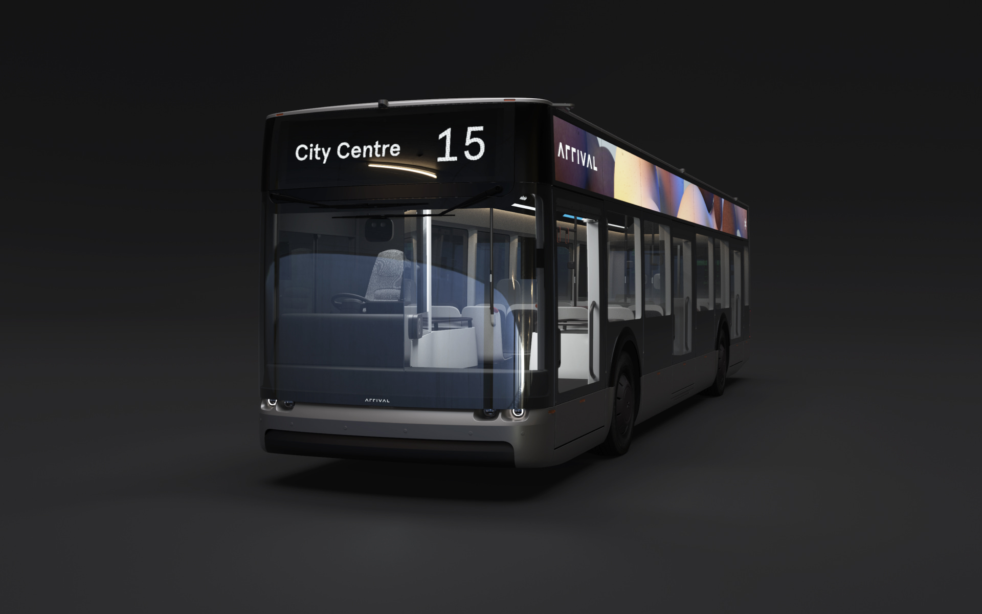 Grey Arrival Bus with Multi-coloured External Full-length Screen on Dark Background